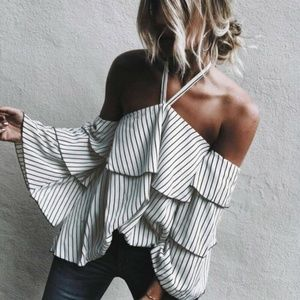 Tops - 🎉HP🎉 Stripe Halter Tie Ruffle Festival Top